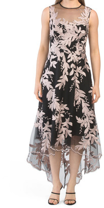 Sleeveless Sheer Overlay Tea-length Dress