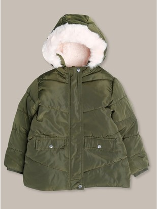 M&Co Fur trim quilted jacket (18mths-12yrs)
