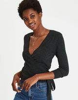 American Eagle Outfitters AE Cropped Ballet Wrap Sweater