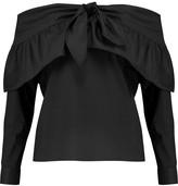 W118 by Walter Baker Kelise off-the-shoulder bow-embellished cotton-poplin top
