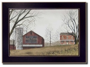 "Trendy Décor 4U Mail Pouch Barn By Billy Jacobs, Printed Wall Art, Ready to hang, Black Frame, 14"" x 10"""