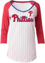 5th & Ocean Women's Philadelphia Phillies Pinstripe Glitter Raglan T-Shirt