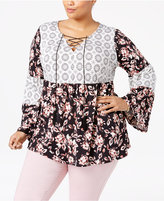 NY Collection Plus Size Mixed-Print Peasant Top