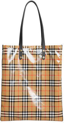 Burberry Coated Vintage Check Large Shopper Tote Bag