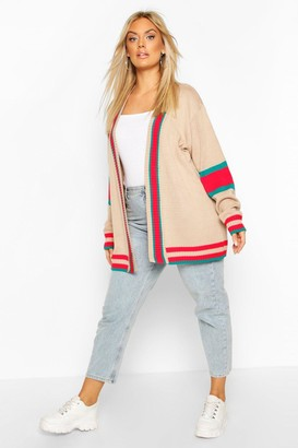 boohoo Plus Contrast Stripe Oversized Cardigan
