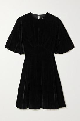 Les Rêveries Gathered Velvet Mini Dress - Black