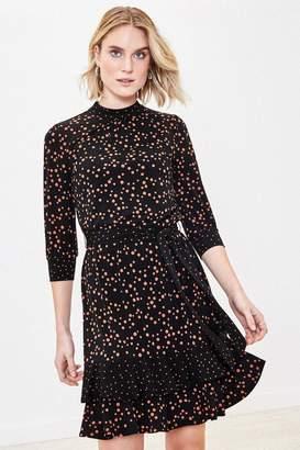 Oasis Womens Black Patch Spot Print Dress - Black