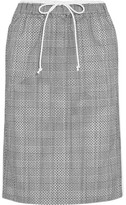 Sacai Laser-cut Prince Of Wales Checked Jacquard And Cotton-poplin Midi Skirt - Gray