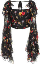 Rodarte Floral Printed Silk Satin Cropped Blouse