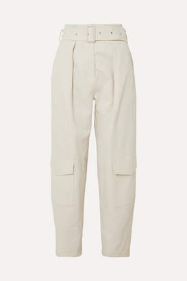 Low Classic Belted Cotton-canvas Tapered Pants - Cream