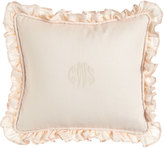 """Sweet Dreams Ruffled Pink Bouquet Pillow with Monogram, 15"""" x 17"""""""