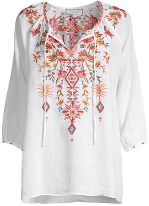 Johnny Was Kippa Embroidered Peasant Blouse