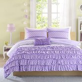 4 Piece Girls Bedroom Polka Dots Themed Comforter Set Full/Queen, All over Dotted Pattern, Stylish Modern Pastel Ruffles Design, Amazing Quality, Reversible Bedding, Soft Colors Plum Purple