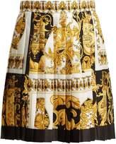 Versace Baroque-print pleated silk skirt