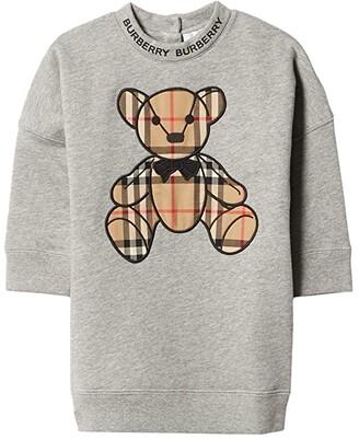 BURBERRY KIDS Danny Check Dress (Infant/Toddler) (Grey Melange) Girl's Clothing