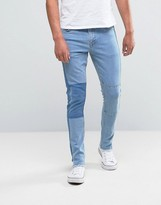 Asos Super Skinny Ankle Grazer Jeans With Shadow Patch And Hem Detail In Light Blue