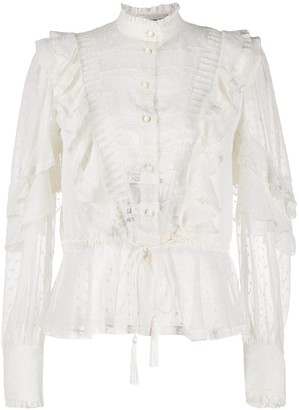 Etro frill-trim sheer blouse