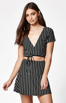 Lisakai Stripe Side Tie Cropped Top