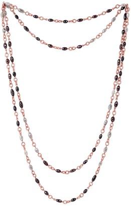 Artisan 18K Rose Gold Diamond Bead Lariat Necklace Jewelry from