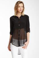 Line & Dot Silk Half Sheer Long Sleeve Blouse