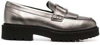 Hogan Metallic Chunky Leather Loafers