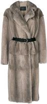 Blancha belted fur coat