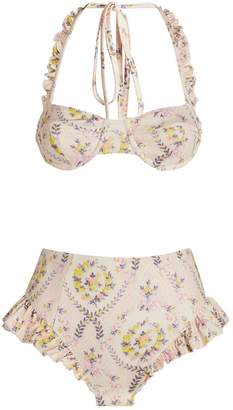 LoveShackFancy Kimberly High-Waist Bikini Set