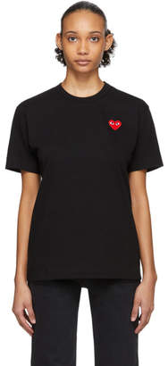 Comme des Garcons Black and Red Mens Fit Heart Patch T-Shirt