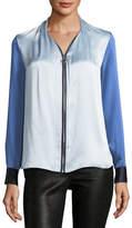 Elie Tahari Rosalina Zip-Front Colorblocked Silk Blouse