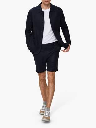 Selected Slim Fit Linen Workwear Jacket, Dark Sapphire