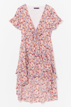Nasty Gal Womens MUTED FLORAL TIE BUST MIDI TEA DRESS - Pink - 4, Pink