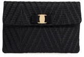 Salvatore Ferragamo Vara Bow Leather Clutch - Black