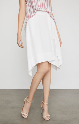 BCBGMAXAZRIA Claire Sueded Faux-Wrap Skirt