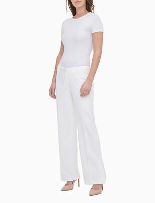 Calvin Klein Solid Straight Leg Wide Pants