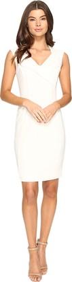 Ellen Tracy Women's Cap Sleeved Crepe Dress with Vneck