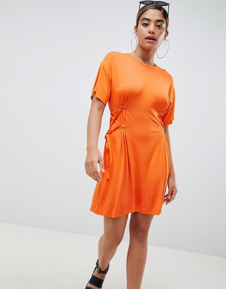 Asos Design Mini T-Shirt Dress With Corset Detail-Orange