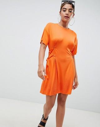 Asos Mini T-Shirt Dress With Corset Detail