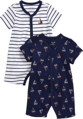 Little Me Sailboat 2-Pack Rompers