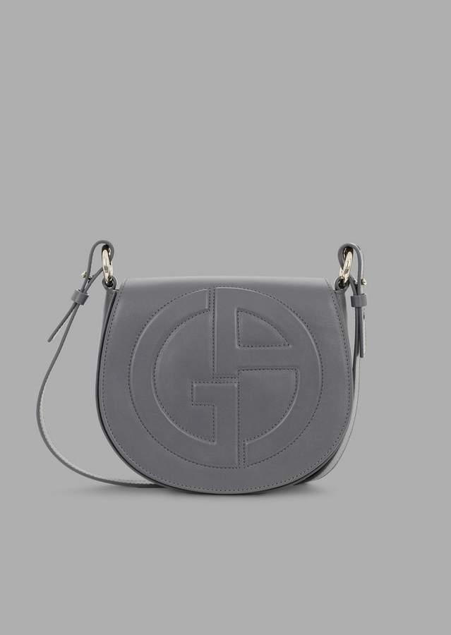 091bbfb2d6 Leather Round Crossbody Bag With Raised Ga Logo