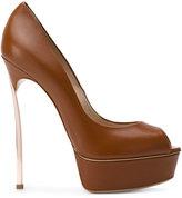 Casadei Blade peep toe platform pumps - women - Leather - 35