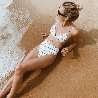 Summersalt The Lace-Up High Leg High Rise Bikini Bottom - Damsel Dot