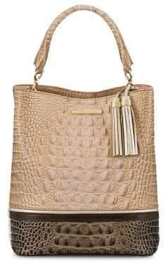Brahmin Chiffon Roseleaf Amelia Croc-Embossed Leather Shoulder Bag