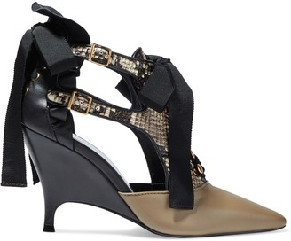 Zimmermann Ribbon Tie Lace-up Smooth And Snake-effect Leather Pumps