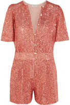 Temperley London Fairy Queen Sequined Tulle Playsuit - Coral