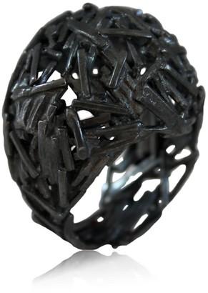 Ring Black Big Nest