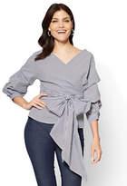 New York & Co. 7th Avenue - Ruffle-Sleeve Wrap Shirt - Stripe