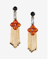 Express stone flower chain fringe drop earrings