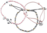 Unwritten 3-Pc. Set Two-Tone Mermaid and Anchor Pink Cord Adjustable Bracelets