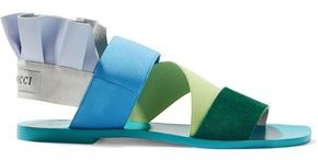 Emilio Pucci Ruffled Color-block Leather And Suede Slingback Sandals