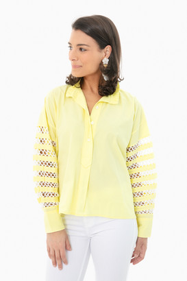 Mii Olive Oil Hand Crocheted Patchwork Sleeve Shirt
